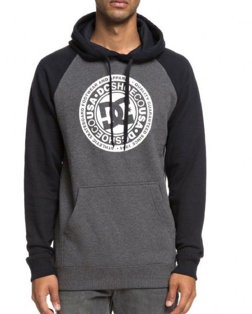 DC SHOES MENS HOODY.CIRCLE STAR BLACK SLEEVE PRINT HOODIE HOODED TOP 8W 78 XKKK